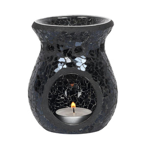 PRE-ORDER Small Black Crackle Mosaic Oil Burner