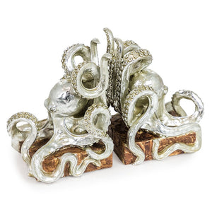 Antique Silver Octopus Bookends