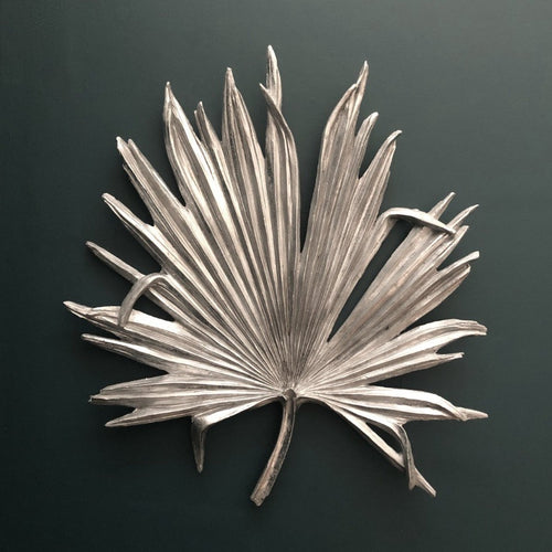 Large Antique Silver Palm Leaf Wall Art