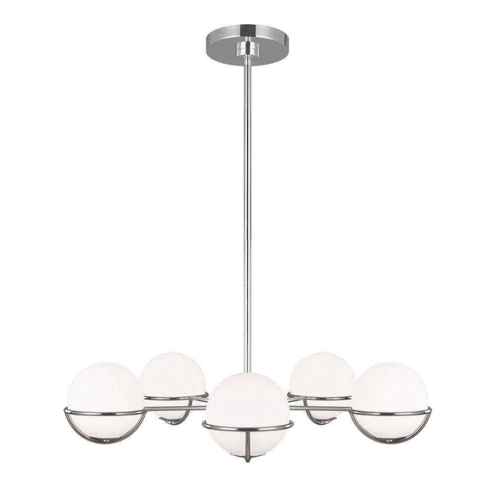 Space Walk 5 Light Polished Nickel Chandelier