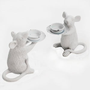 White Mouse Tealight Candle Holder Pair