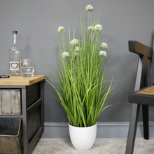 Artificial Potted Grass with White Allium