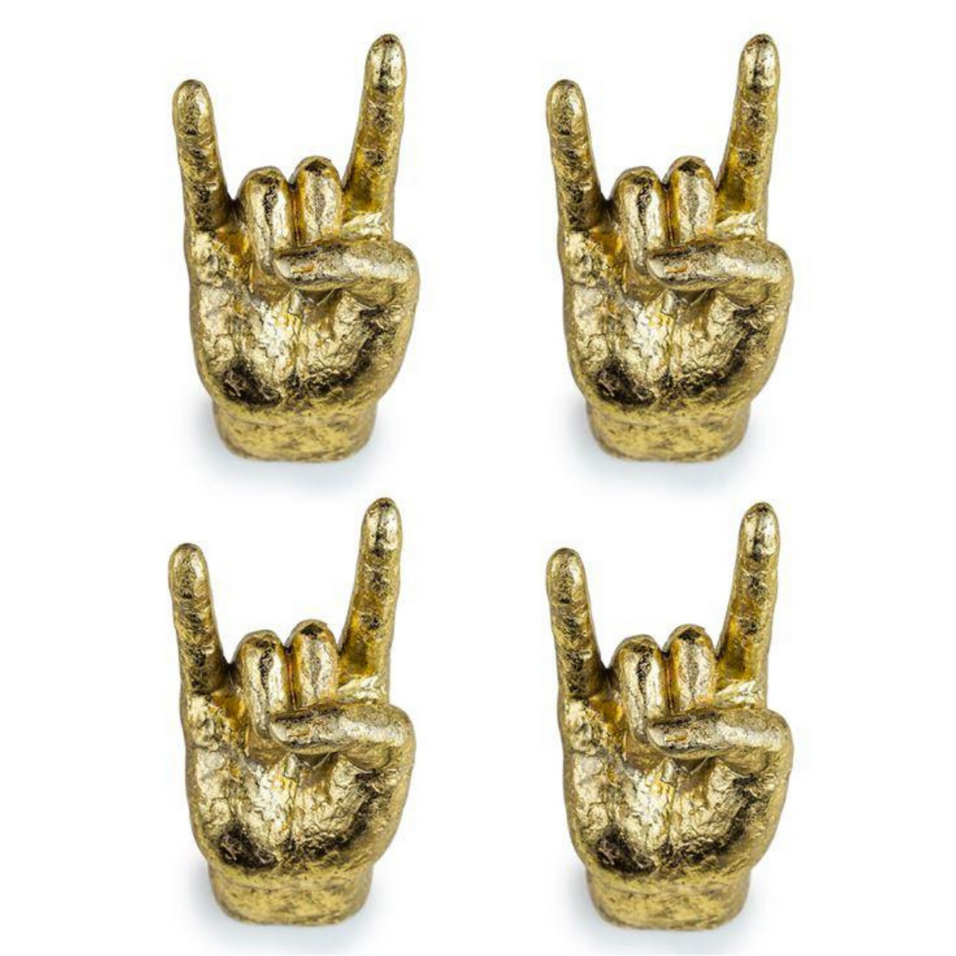 Gold Set of 4 Rock On Wall Hands