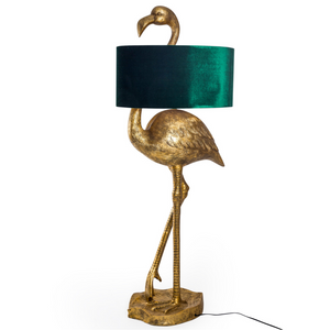 Flamingo Floor Lamp with Velvet Shade