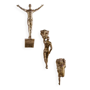 Set of 3 Antique Copper Resin Rock Climbers