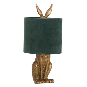 PRE-ORDER Antique Gold Hiding Hare Table Lamp and Shade