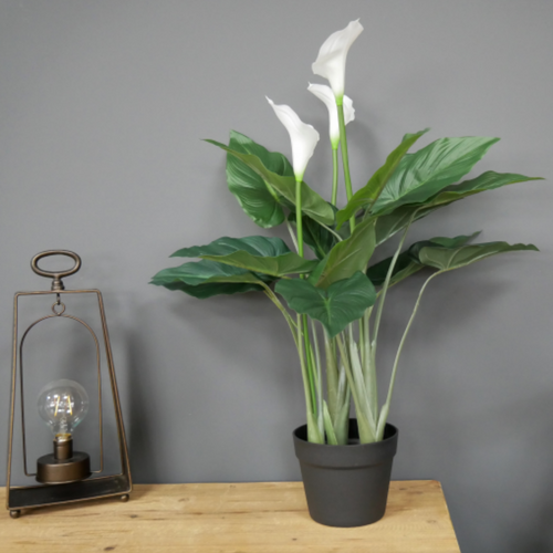 Artificial Potted White Lily Plant