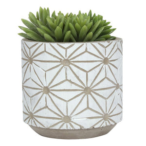 11cm White Patterened Plant Pot