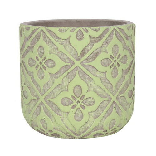 11cm Lime Green Patterned Plant Pot