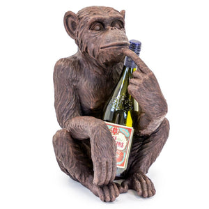 Antique Bronze Sitting Monkey Wine Bottle Holder