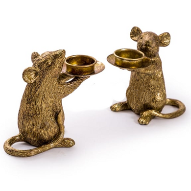 Pair of Antique Gold Mouse Tealight Holders