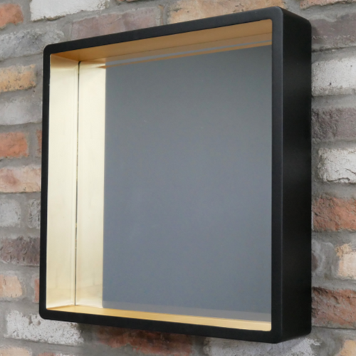 Square Black and Gold Wooden Wall Mirror