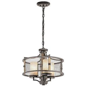 Innerleithen 3 Light Anvil Iron Duo Mount Chandelier