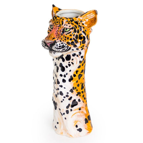 Leopard Freestanding Ceramic Animal Head Vases