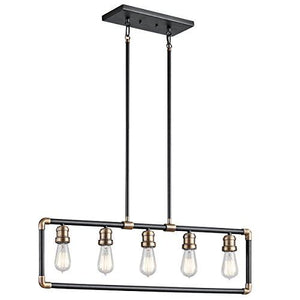 Imran 5 Light Black and Brass Linear Chandelier Light
