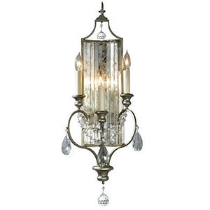 Georgiana Crystal Drop Gilded Silver Triple Wall Light