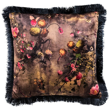 45x45cm Fringed Boho Floral Velvet Cushion
