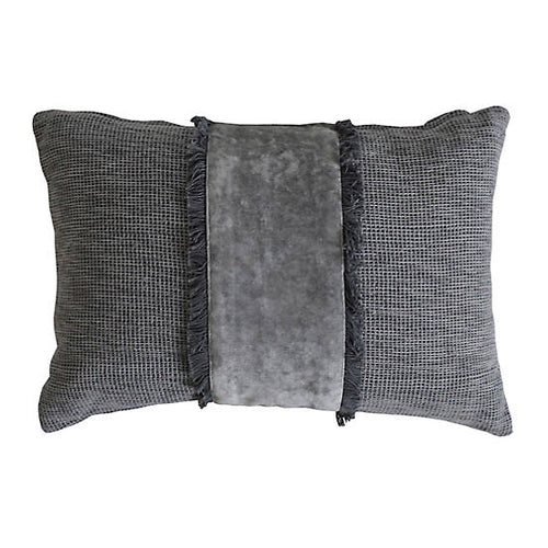 Arielle Silver Grey Velvet Embellished Cushion