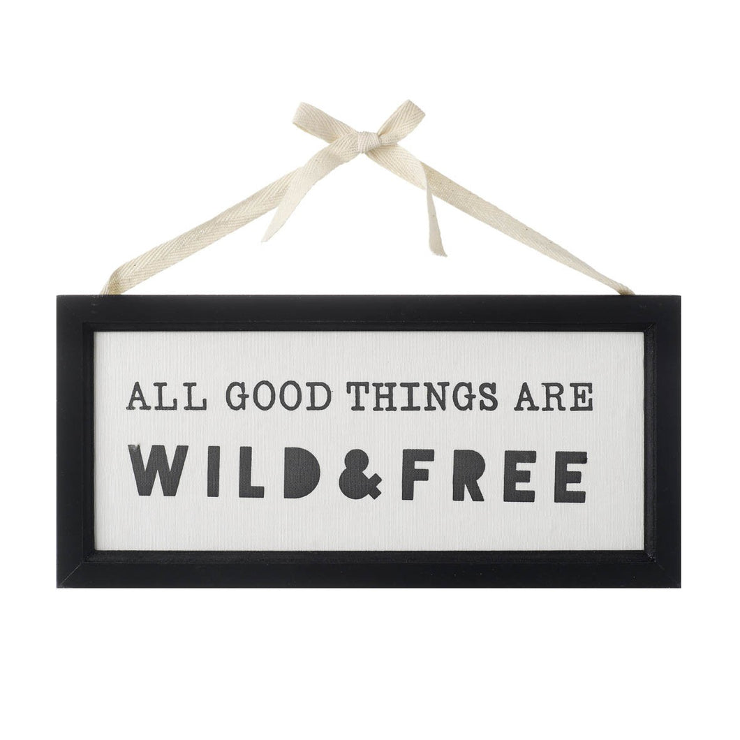 Black and White Wooden & Fabric Hanging Sign