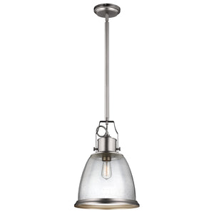 The Hudson 1 Light Nickel Medium Pendant