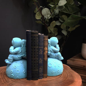 Astronaut Blue Flock Bookends Pair