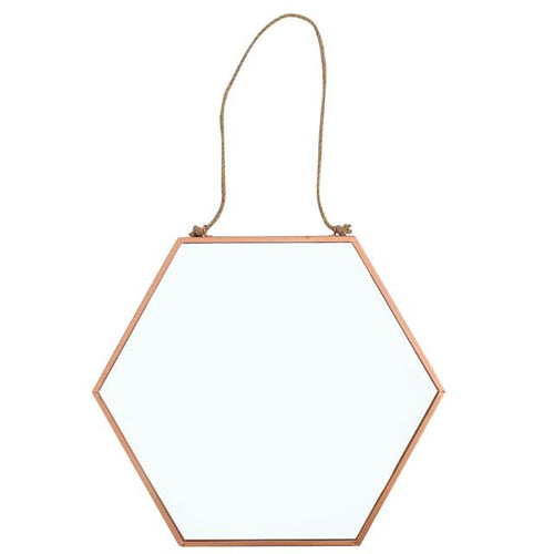 Copper Geometric Rope Hanging Mirrors (2 Sizes)
