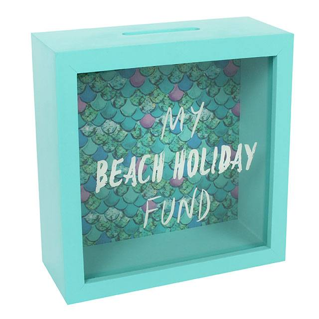 My Beach Holiday Easy Access Wooden Money Box