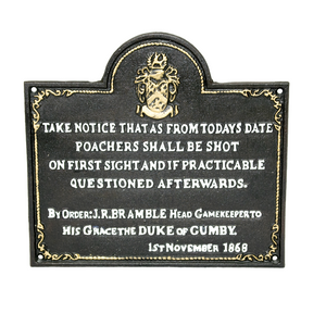 Cast Iron Poachers Sign 26x24cm