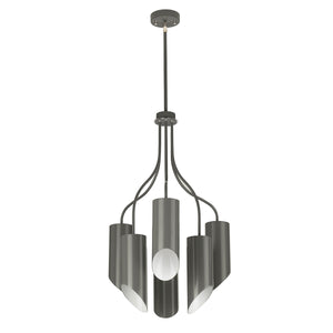 Quinley Grey & Nickel 6 Light Chandelier