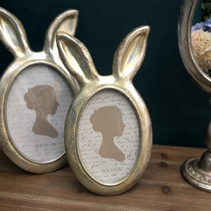 Antique Silver Rabbit Ears Photo Frame