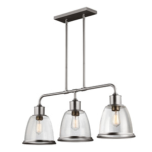 The Hudson 3 Light Nickel Island Chandelier