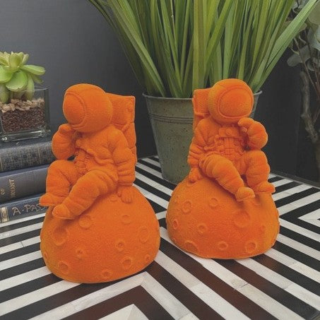 Astronaut Orange Flock Bookends Pair