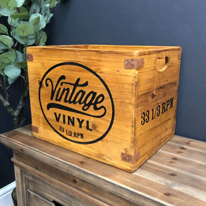 Vintage Vinyl Waxed Wooden Record Boxes