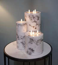 White Marble 15cm Natural Glow LED Pillar Candle