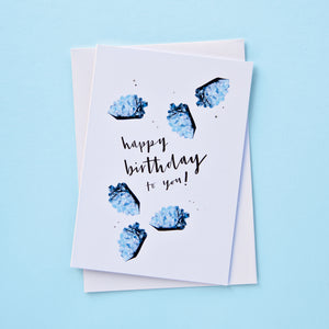 March Tiny Birthstones Birthday Card | Aquamarine