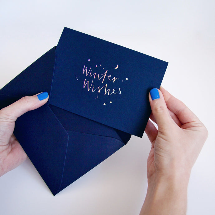 Winter Wishes Holographic Dark Christmas Card