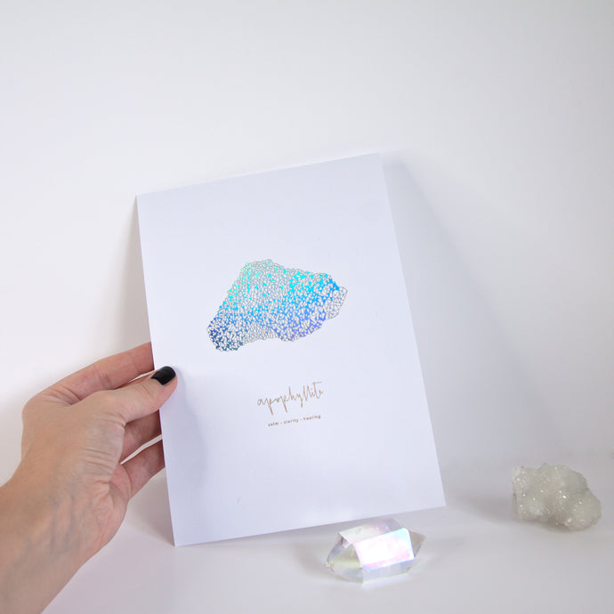 Iridescent Foil Crystal Print | A5