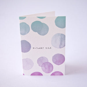 Birthday bird card with polka dots