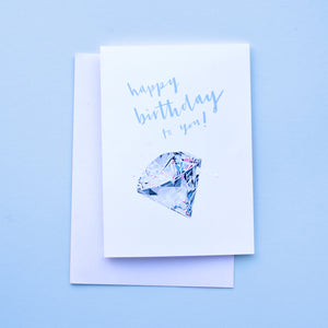 birthstone card for April birthdays featuring a diamond illustration