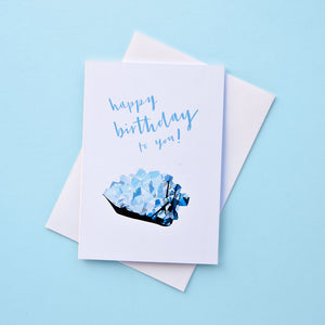 March birthstone birthday card featuring an aquamarine illustration