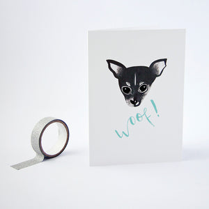 Greetings card featuring a chihuahua illustration