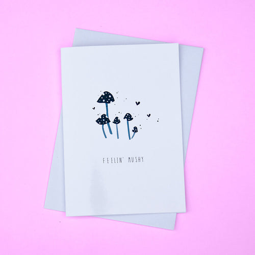 feeling mushy card featuring a black and white illustration of toadstools