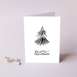 Merry Christmas Monochrome 'Duster' Tree Card