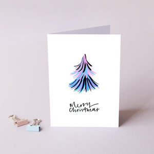 Merry Christmas Rainbow 'Duster' Tree Card