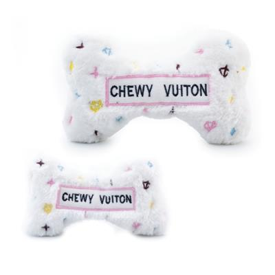 White Chewy Vuiton Bone Plush Toy