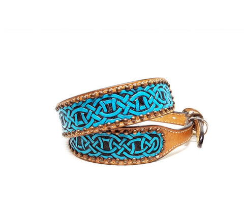 Turquoise Celtic Knot Leather Dog Collar