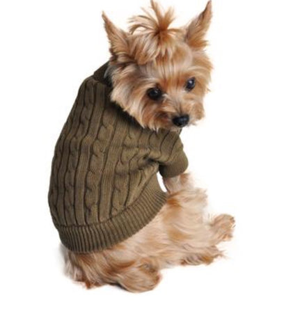 Herb Green Combed Cotton Cable Knit Dog Sweater