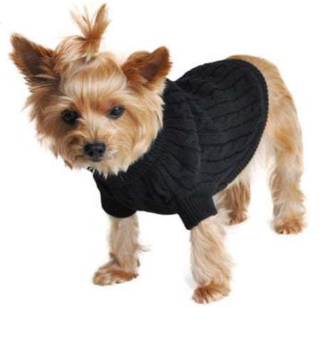 Jet Black Combed Cotton Cable Knit Dog Sweater