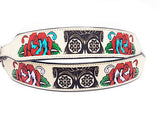 Sugar Skull Leather Dog Collar