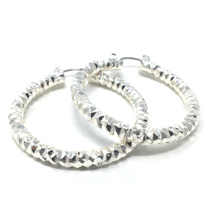 1.5 Inch Silver Diamond-Cut Finish Aluminum Hoop Earrings